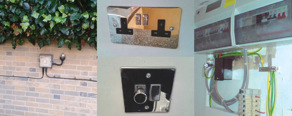 Outdoor lighting/power, sockets and switches, Fuseboards and circuits