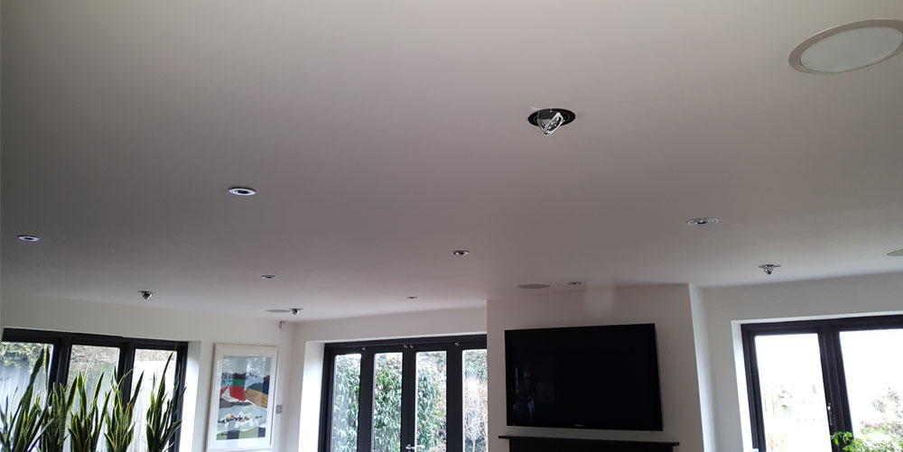 Lounge Ceiling Downlighters and TV